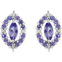 Sterling Silver 0.79ct Natural Tanzanite & 3.2pt Diamond Cluster Stud Earrings