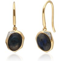Irregular B Gem Labradorite and Diamond Drop Earrings in Gold Plated Sterling Silver