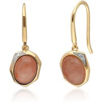 Image of Irregular B Gem Dyed Red Jade & Diamond Drop Earrings in Gold Plated Sterling Silver