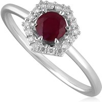 9ct White Gold 0.48ct Ruby and Diamond Halo Engagement Ring