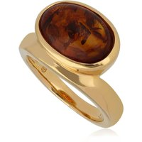 Image of Kosmos Amber Cocktail Ring in Gold Plated Sterling Silver