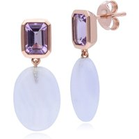 ECFEW™ The Unifier Amethyst and Blue Lace Agate Drop Earrings