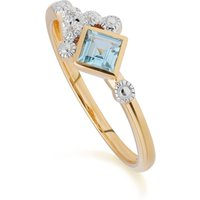 Contemporary Blue Topaz and Diamond Ring in 9ct Yellow Gold