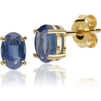 Classic Oval Light Blue Sapphire Stud Earrings in 9ct Yellow Gold 6x4mm