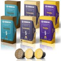 Flavor Box - 60 Nespresso kompatible Kapseln von Gourmesso mit Geschmack (Vanille, Karamell, Schokolade)