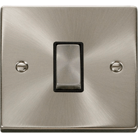 Click Scolmore Deco Satin Chrome 1 Gang 2 Way Plate Switch 10A With Black Ingot   VPSC411BK