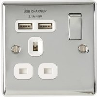 BG Nexus Metal Polished Chrome Single 1 Gang Plug Socket with 2 x USB Outlet White Insert 13A   NPC21U2W