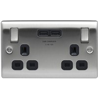 BG Nexus Metal Brushed Steel Single 2 Gang Plug Socket with 2 x USB Outlet Black Insert 13A   NBS22U3B