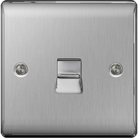 BG Nexus Metal Brushed Steel 1 Gang Telephone Socket   NBSBTM1