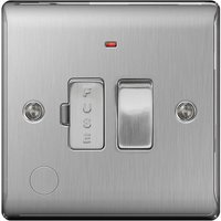 BG Nexus Metal Brushed Steel Fused Spur with Power Indicator Switch and Cable Outlet 13A   NBS53