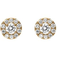 18ct Rose Gold 0.54ct Diamond Round Halo Earrings