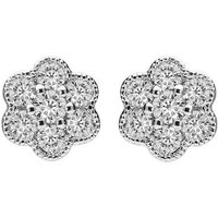 18ct White Gold 0.33ct Diamond Floral Cluster Earrings