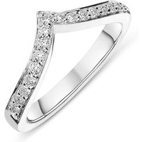 18ct White Gold 0.24ct Diamond Wishbone Wedding Ring