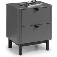 Julian Bowen Chloe 2 Drawer Bedside Cabinet / Storm Grey/Black / 2 Drawers