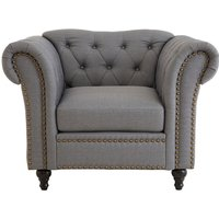 Teddy's Collection Ford Chesterfield Tufted Studded Grey Armchair