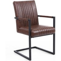 Shankar Archer Cantilever Leather Effect Brown Carver Chair (2pk)