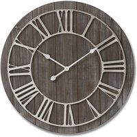 Hill Wooden Clock With Contrasting Nickel Detail cheapest