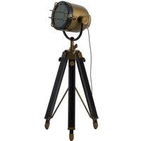 Brass And Black Industrial Spotlight Tripod Lamp