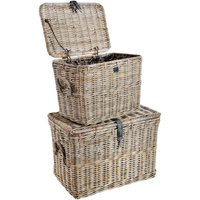 Rowico Anya Grey Rattan Log Baskets Set Of 2 cheapest