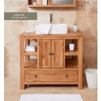Baumhaus Solid Oak Two Door Single Sink Unit (Square)