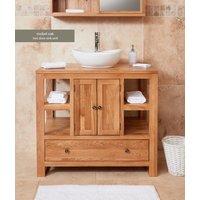 Baumhaus Solid Oak Two Door Single Sink Unit (Round)