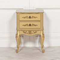 Maison Reproductions French Bedside Cabinet / Gold / 2 Drawers