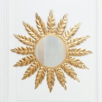 Maison Reproductions Metal Wall Mirror / Gold / Flower