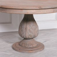 Maison Reproductions Light Wooden Round Pedestal Acorn Dining Table / Brown / Large