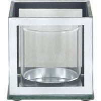 Deco Home 20cm Mirror And Glass Pillar Candle Holder