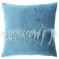 Deco Home 45x45 Velvet Feather Band Cushion Cover Marine Green