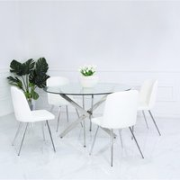 Deco Home White Faux Leather Dining Chair With Chrome Legs