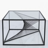 Deco Home Ava Black Metal And Clear Glass Coffee Lounge Table With Unique Design