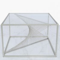Deco Home Ava Silver Metal And Clear Glass Coffee Table With Unique Design