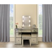 Deco Home Diamond Glitz Dressing Table Mirror With 9 Dimmable LED Light Bulbs   Outlet