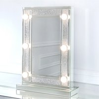 CIMC Diamond Glitz Hollywood Dressing Table Mirror With 6 LED Light Bulbs