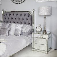 Deco Home Athens Silver Mirrored 3 Drawer Bedside Cabinet