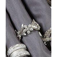 Deco Home Set Of 4 Cast Nickel Flower Napkin Ring (5cm)