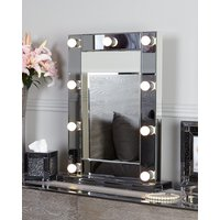 Deco Home Smoked Glass Dressing Table Mirror With 9 Dimmable LED Light Bulbs