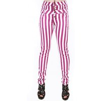 Nicole High Waisted Candy Striped Skinny Jeans In Rasberry