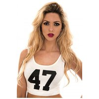 White Slogan 47 Crop Top