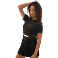 Sparkle Velvet Playsuit In Black