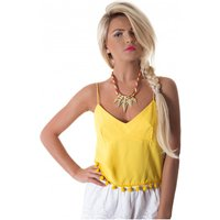 Siesta Pom Camisole Top In Yellow