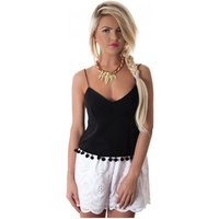 Siesta Pom Camisole Top In Black