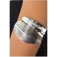 Aleida Feather Arm Cuff In Silver