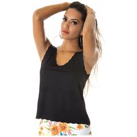 Pretty Girl Scallop Vest Top In Black