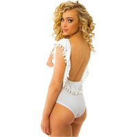 Coco White Pop Pom Bodysuit