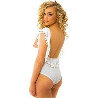 Coco White Pop Pom Backless Bodysuit