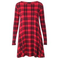 Celebrity Style Red Tartan Swing Dress Plus Sizes Available