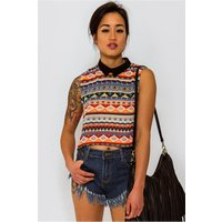 Venice Aztec Print Sleeveless Tank Top In Orange