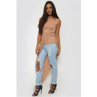 Peach Knot Front Tunic Top